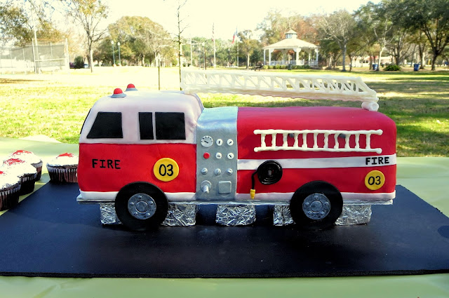3D Fire Truck Cake - Side View