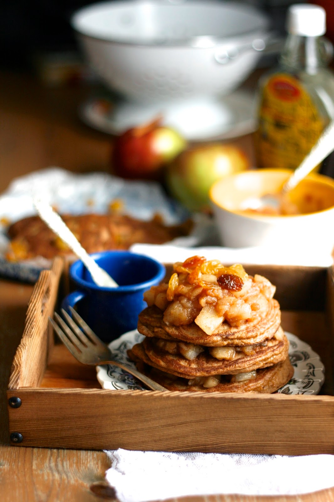 Indigo Scones: Gluten Free Cinnamon Raisin Pancakes with Apple Topping