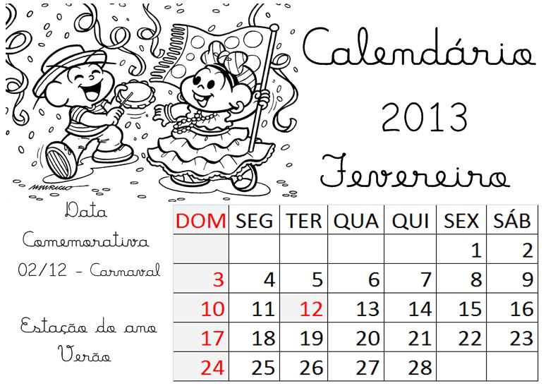 Calendário Fevereiro Turma da Mônica 2013