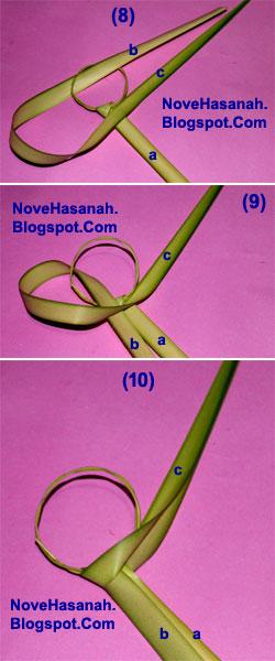 cara membuat kerajinan tangan atau prakarya dari janur daun kelapa muda berupa burung cenderawasih 8