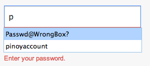 Password typed in wrong box