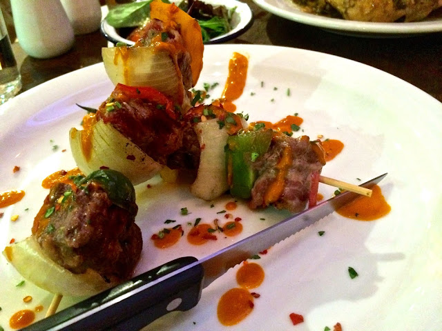 beef and smoked bacon espetinho skewers at Carioca