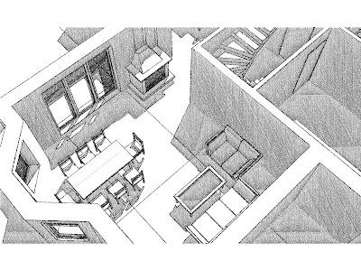 Architekt Rzeszów. Dom jednorodzinny, wizualizacja parteru, jadalnia z kominkiem, salon.