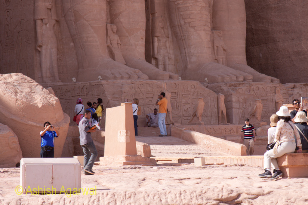 Tourists outside the base of the Abu Simbel temple in South Egypt, some distance away from Aswan
