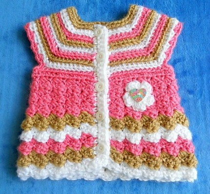 "Baby Cardigan ""Stripes and Bubbles"" - Free Pattern"