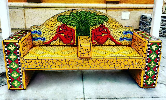Long Beach Mosaic Tile Bench Bus Stop Art Work