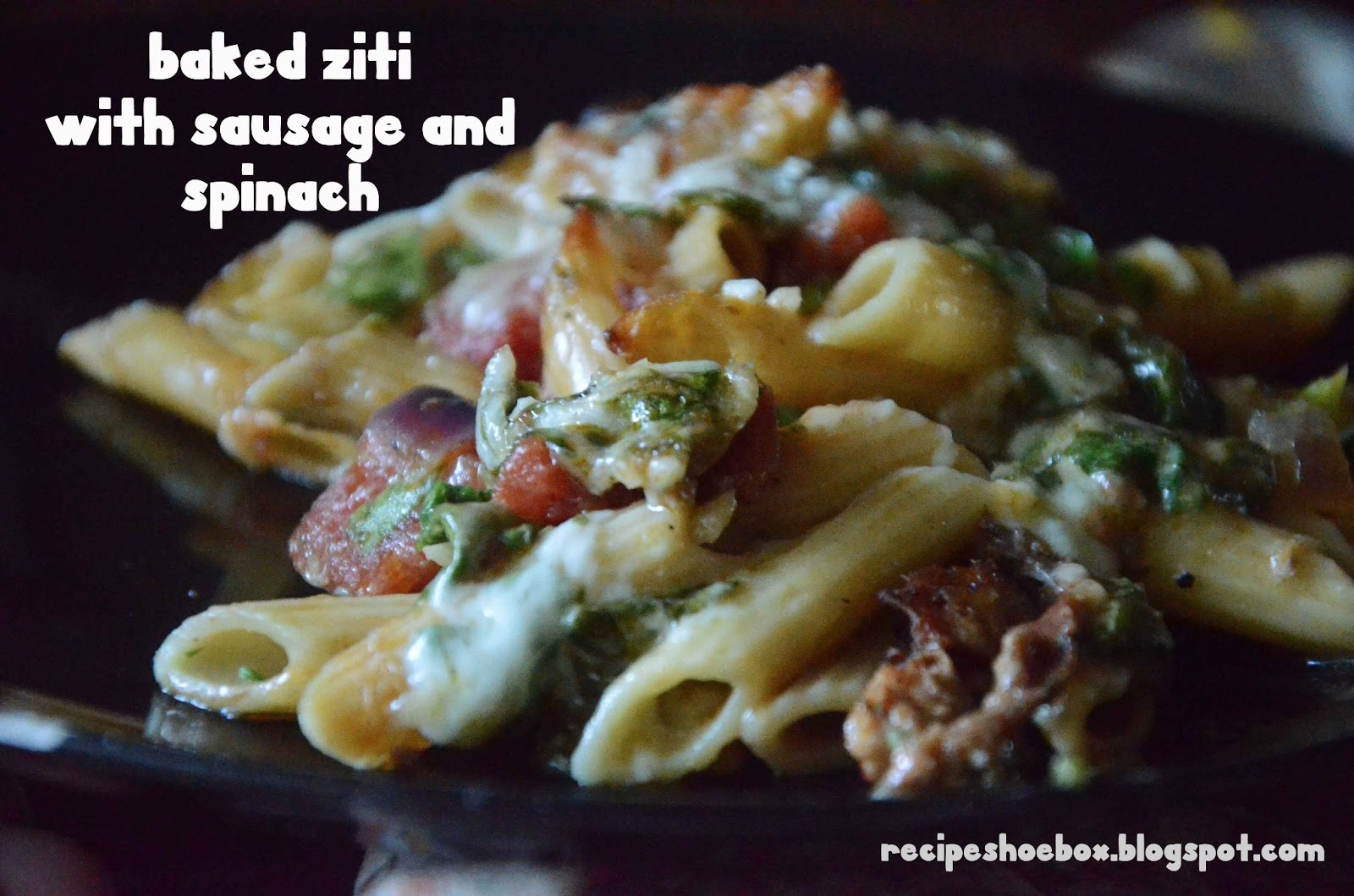 Recipe Shoebox: Baked Ziti with Spinach and Sausage