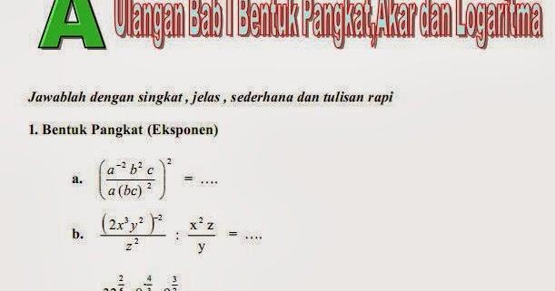 Matematika Di Sma Soal Soal Bab 1 Pangkat Akar Dan Logaritma