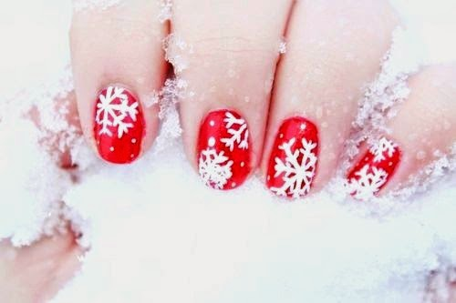 cute red snowflake christmas nail art
