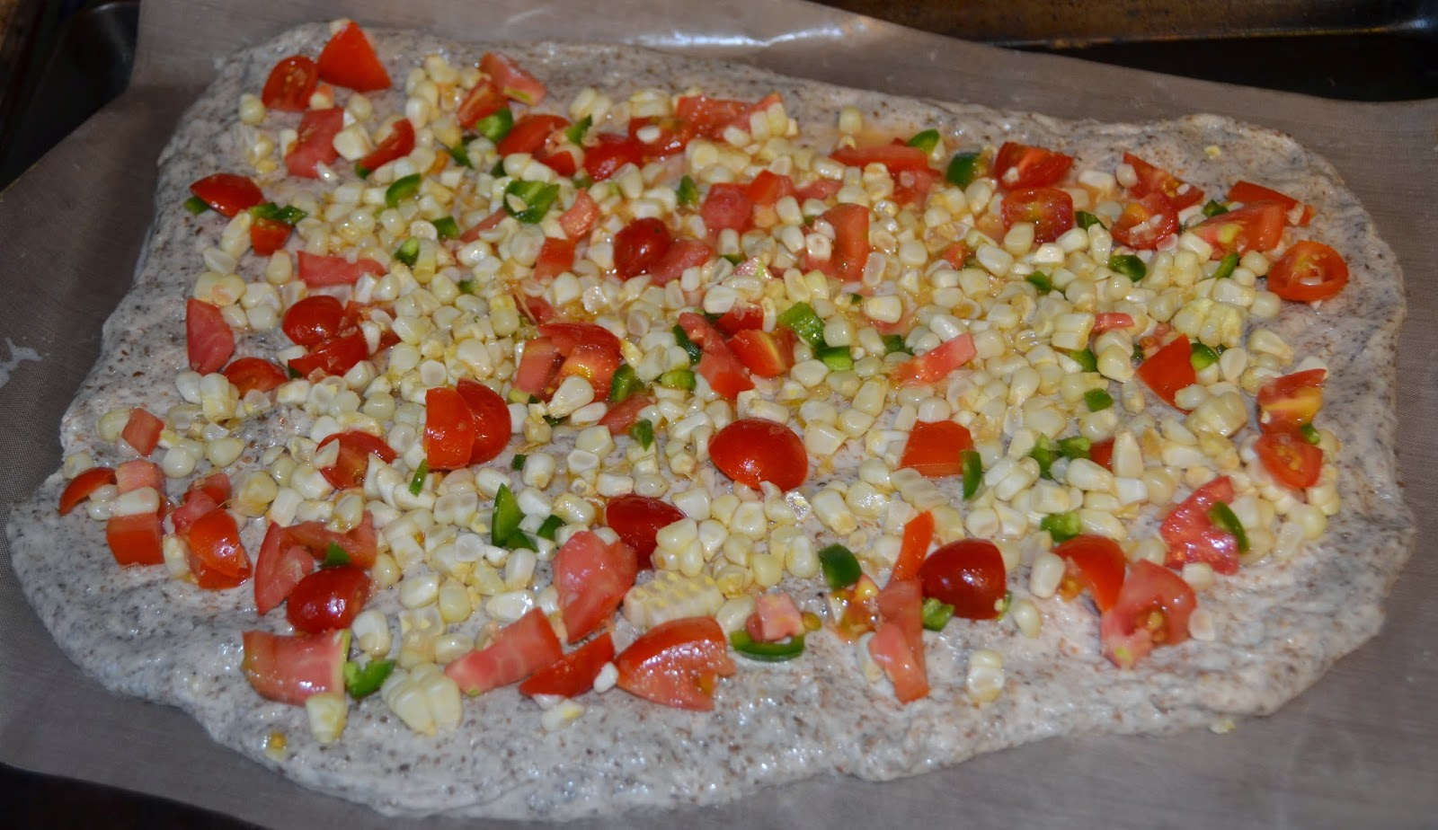Fresh corn salsa pizza