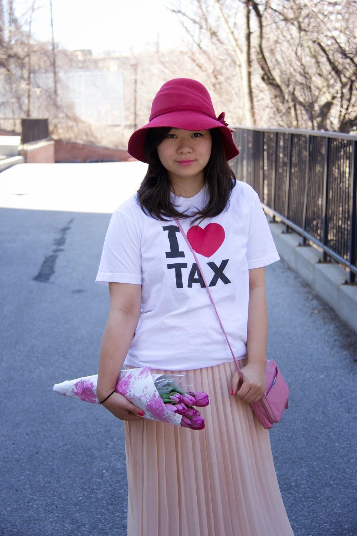 Anthropologie-vintage-hat, Graphic-Tee, Maxi-Skirt, Tulip-Flowers, fashion-blogger