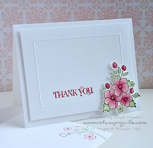 Stampin' Up! Bordering on Romance Thank You Card