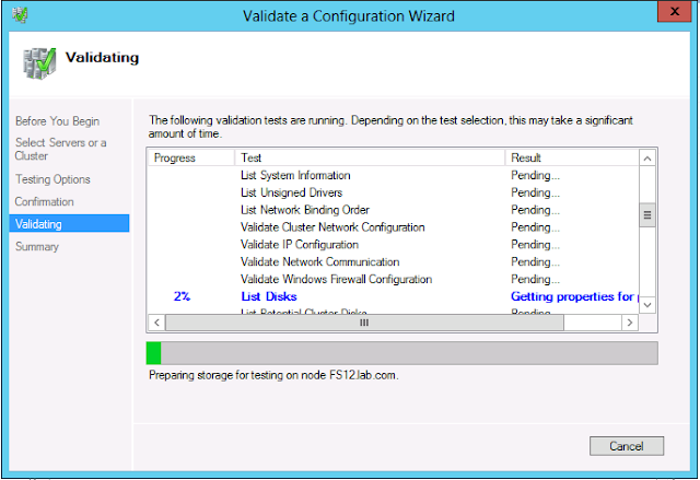 Validate cluster configuration on windows server 2012