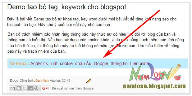 Tự động thêm từ khoá Tag/Keywork vào bài viết BLogspot