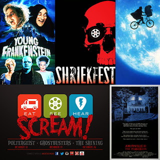 Collage of Halloween Film Events: Young Frankenstein, Shriekfest, E.T., Eat | See | Hear Shoctober, and Amittyville Horror II