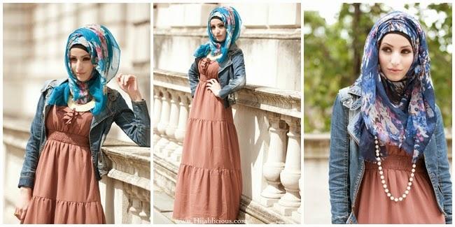 Hijab dengan motif bunga
