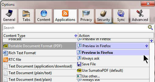Firefox PDF Options