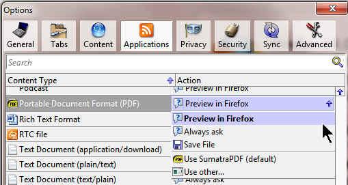 Firefox PDF Options