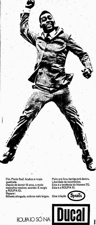 Pelé como garoto propaganda dos Ternos Ducal para o ano de 1970.