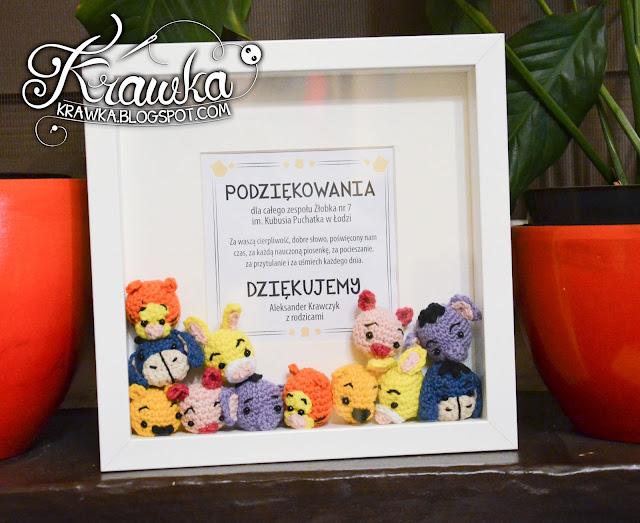 Krawka: Winnie the Pooh and friends -minis crochet free pattern. Pooh, piglet, rabbit, tiger, eeyore, heffalump