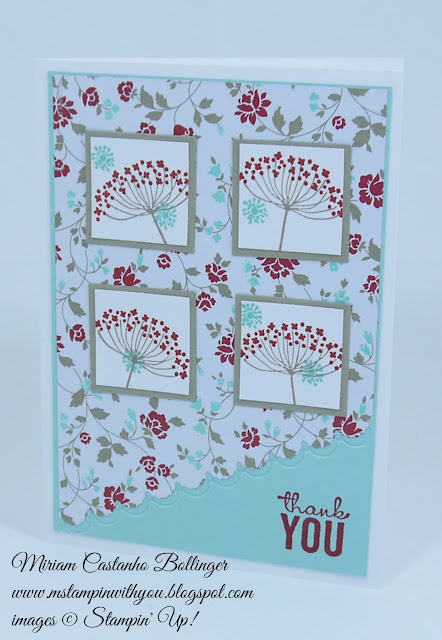 Miriam Castanho Bollinger, #mstampinwithyou, stampin up, demonstrator, sc, thank you, fresh prints dsp, summer silhouettes, painted petals stamp set, big shot, finishing touches edgelits, squares collection, su