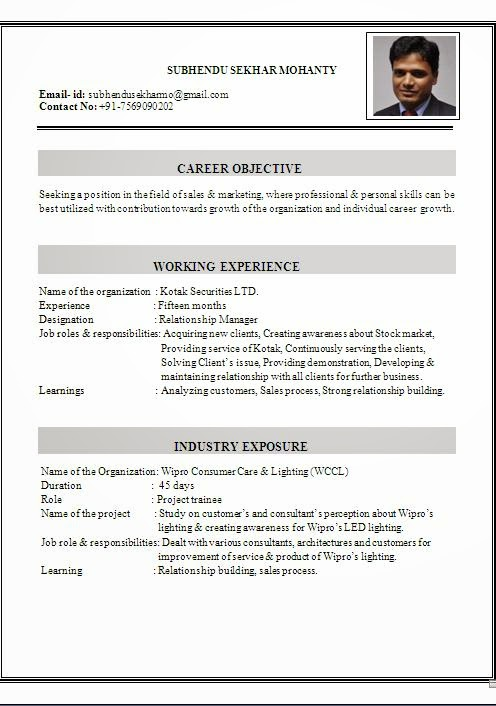Resume Format For Freshers Architects
