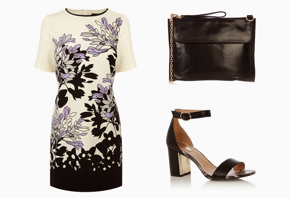 Oasis Pastel Shadow Border Dress, Roxy Block Heel, Leather Betti Clutch bag