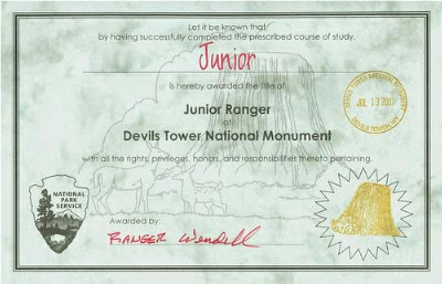 Devils Tower Junior Ranger certificate
