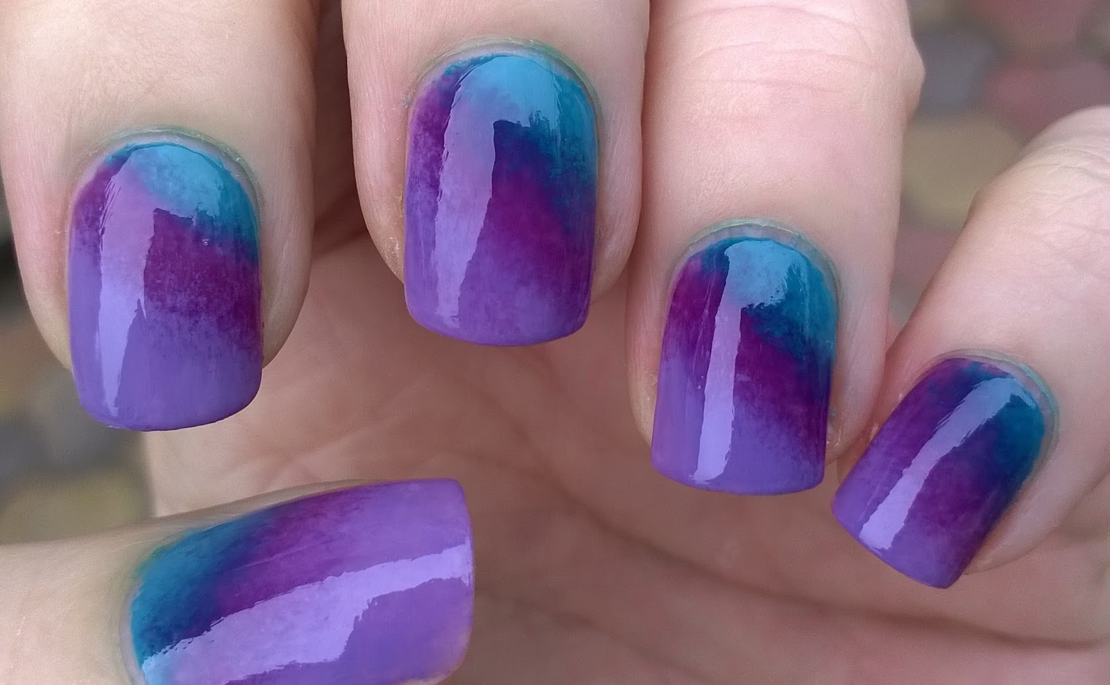 Life World Women Ombre Gradient Nail Design In Purple Green