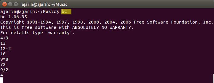Perintah dasar linux - bc