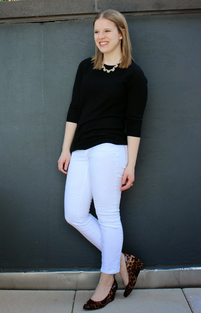 Black and White | Something Good, white jeans, white denim, j.crew factory sweater, black sweater, leopard wedges