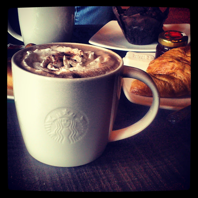 hot chocolate croissants at starbucks for a cosy breakfast