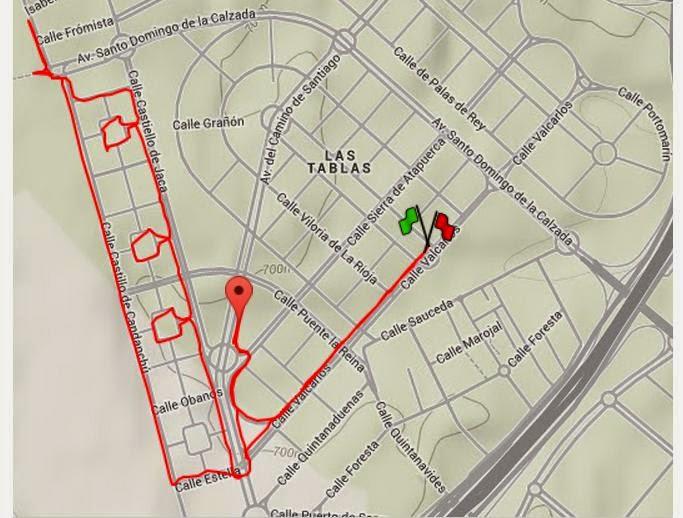 Corriendo por Las Tablas - Mapa ruta sencilla por la parte Sur de Las Tablas