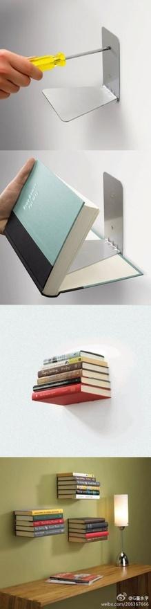 Use Bookends as Floating Bookshelves | diy craft TUTORIALS