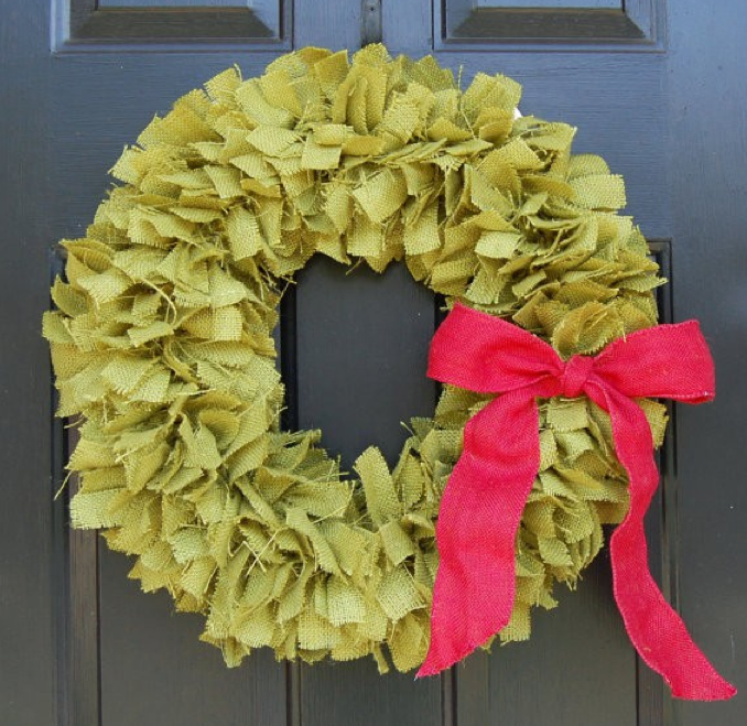 christmas wreath, green rag wreath, fabric door wreath