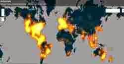 Mapa animado que muestra el impacto del hashtag #JeSuisCharlie en Twitter luego del atentado sufrido por la revista Charlie Hebdo.