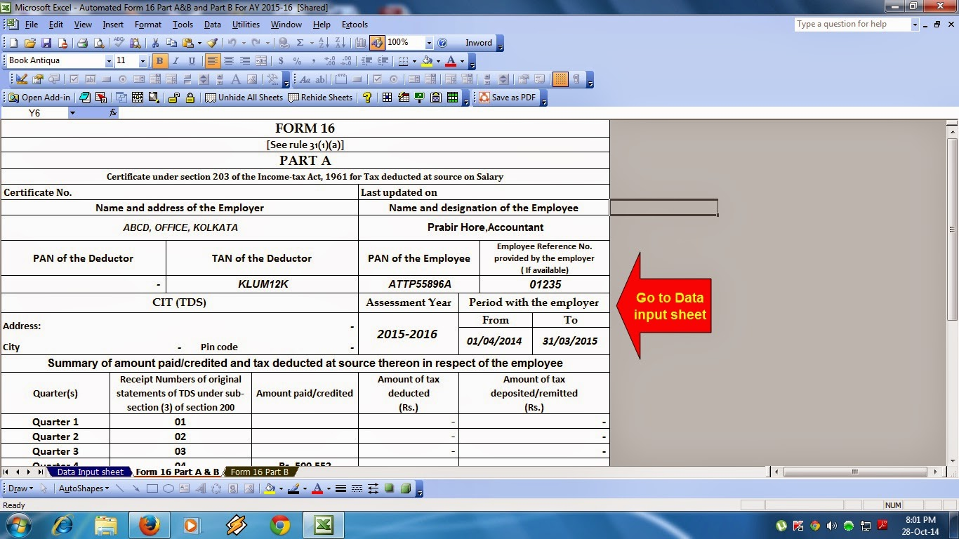 itaxsoftware net automatic salary certificate form 16 part a b and part b in excel for the financial year 2014 15 and assessment year 2015 16