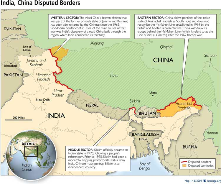 India and its neighbouring countries Border Disputes  Maps and