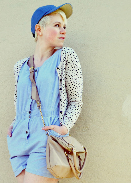 baseball cap, chambray, romper, vintage, polka dots, street style, how to, spring 2013, fleur d'elise
