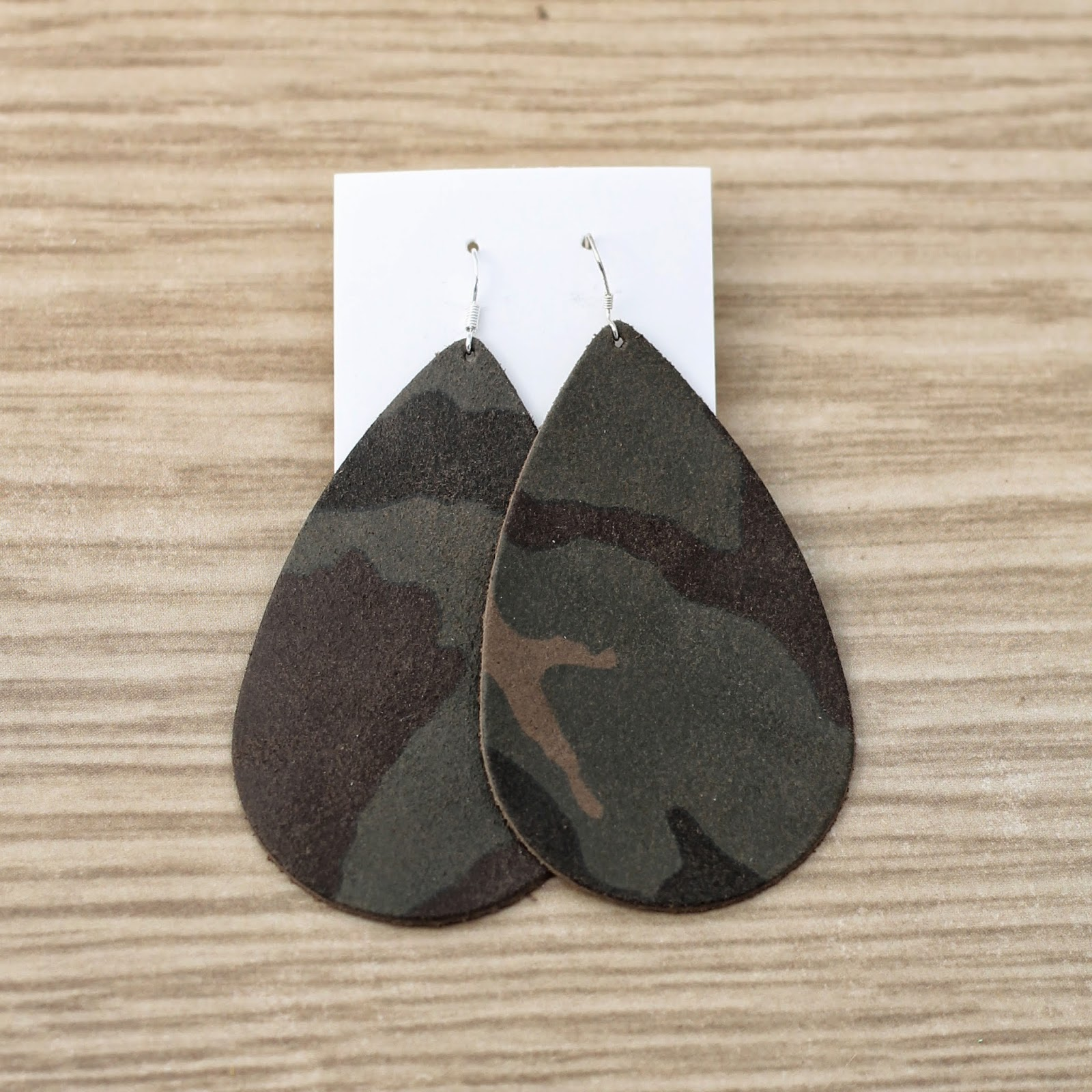 Leather camo earrings from ONE little MOMMA