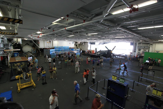 The view at Hangar Deck of the USS Midway Museum in San Diego, California, USA