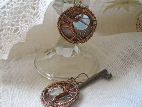 tree of life earrings, copper, bronze, rose gold and shell