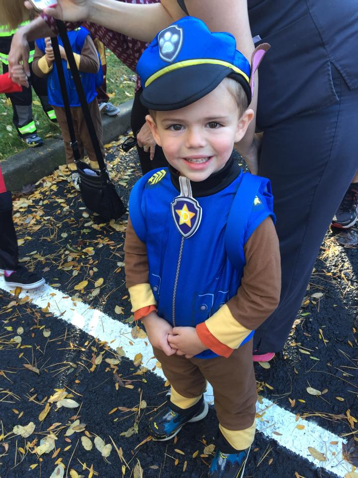 chase from paw patrol costume wesley went back into the school for a halloween party after the parade parents werent allowed in but i did send in