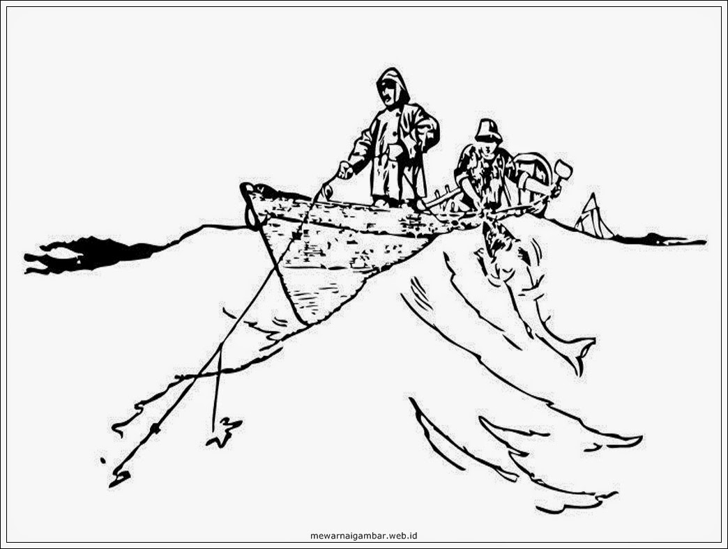 mewarnai gambar sketsa nelayan