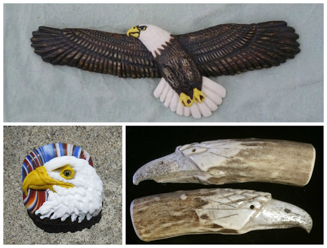 Hand crafted eagle cabochon and beads from Loco Lobo, Joy Munshower and Spirit Wind Studios.