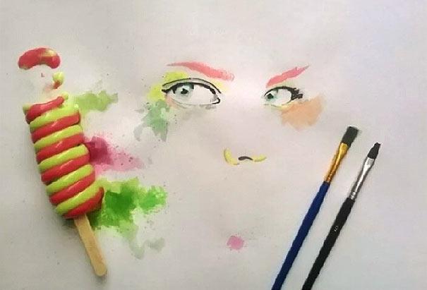 Artista pinta con helado en lugar de pintura