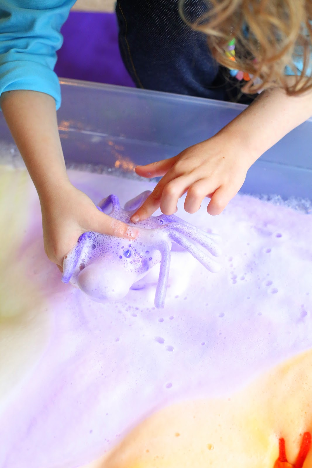 Magic Halloween Foaming Spiders - they shoot out rays of colored soap foam and disappear into a mound of fluffy colored foam, leaving baby spiders behind.  From Fun at Home with Kids