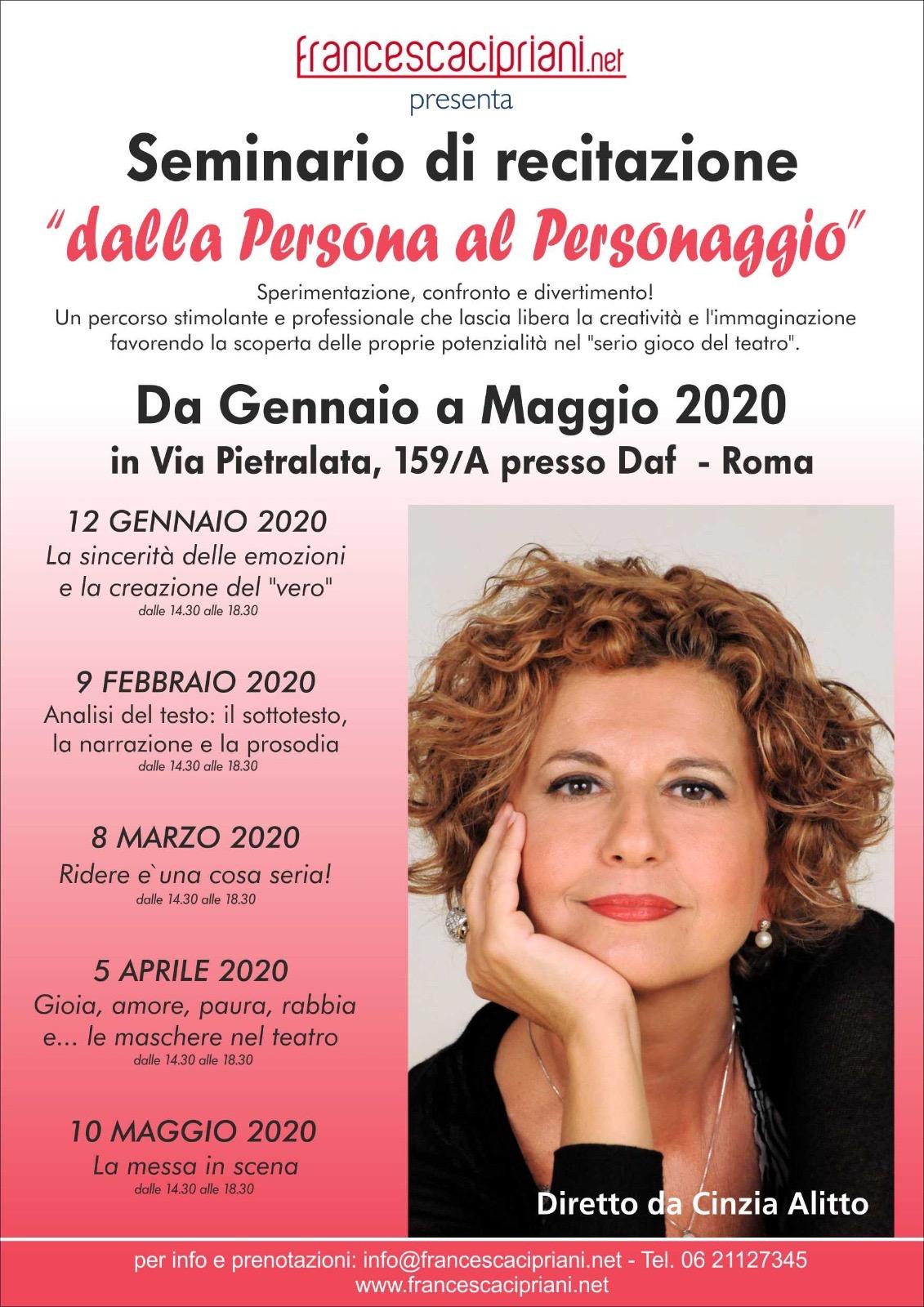 """SEMINARIO DI RECITAZIONE """"DALLA PERSONA AL PERSONAGGIO"""""""