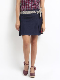 INDIGO BLUE DENIM PLEATED SKIRT