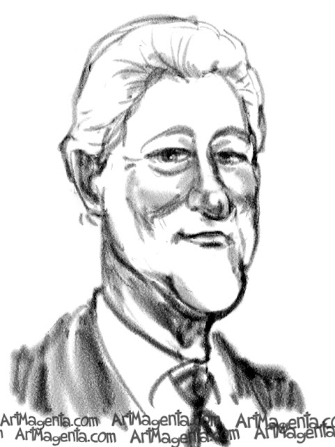 Bill Clinton caricature cartoon. Portrait drawing by caricaturist Artmagenta